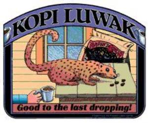 Obrázek s kunou a kávou Kopi Luwak
